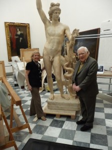 Diann G. and Victor J. Scaravilli with the Statue of Apollo. Courtesy of the Uffizi Gallery, Florence, Italy © All Rights Reserved