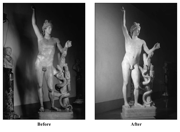 diann scaravilli Before and after images of the Statue of Apollo