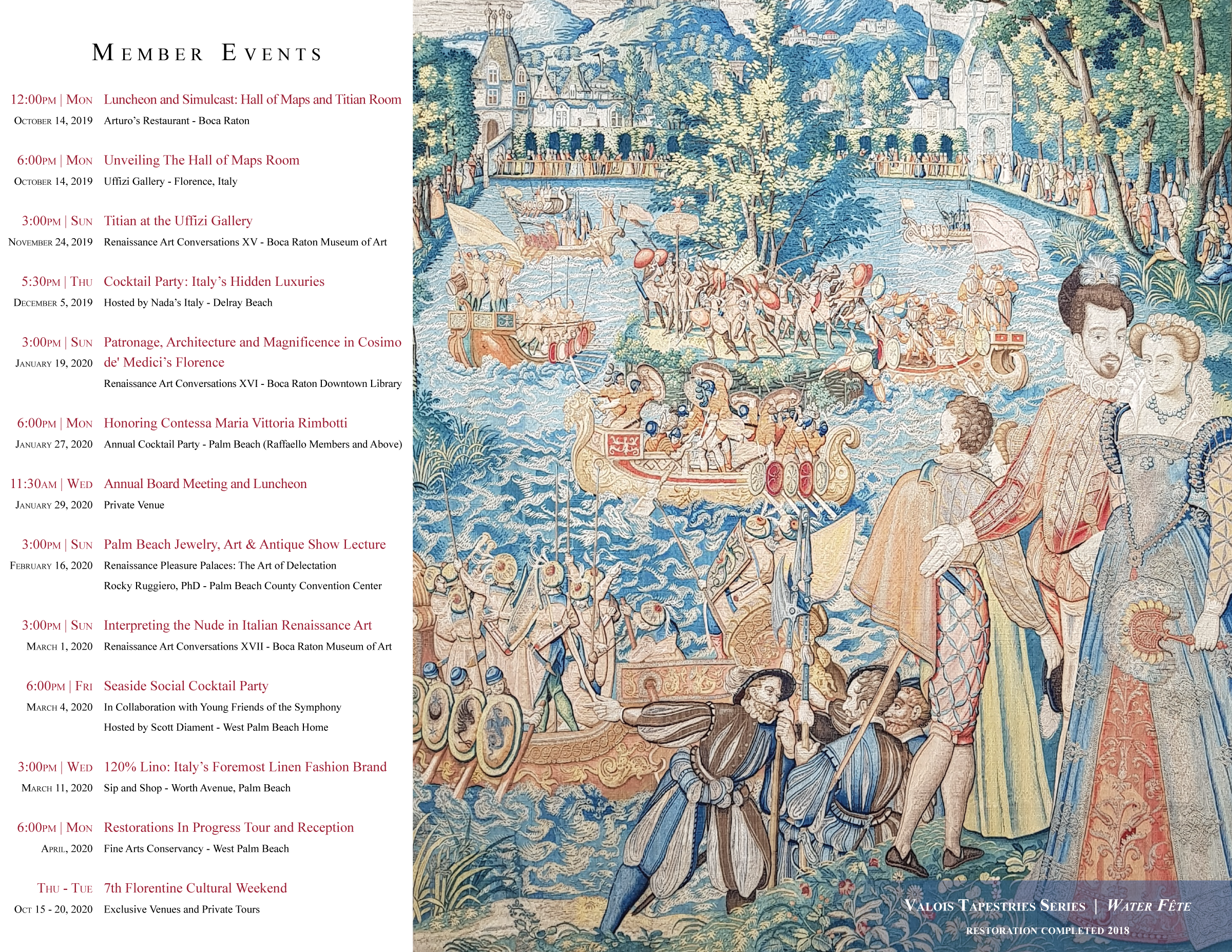 Friends of the Uffizi Gallery 2019 to 2020 Brochure Press Information